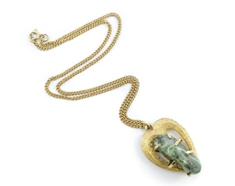 Vintage BSK Green Stone Necklace, Gold Tone, Signed, S18