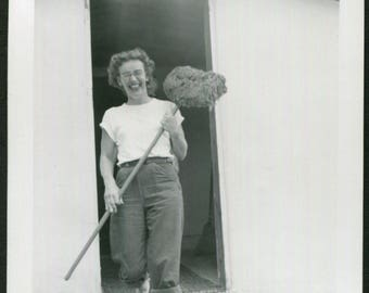 Vintage Snapshot Photo of Very Happy Girl Posing with Mop 1950's, Original Found Photo, Vernacular Photography