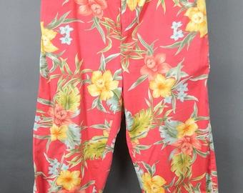Vintage CARIBBEAN JOE Capri PANTS Tropical Floral Casual Pants  Size 12