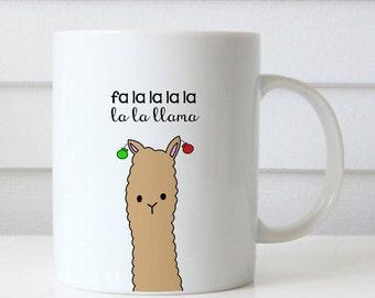 Christmas Mug Funny Gift For Friend Llama Pun Happy Holidays Merry Christmas Fa La La Her Him Sister Coffee Mugs Holiday Gifts Cute Fun