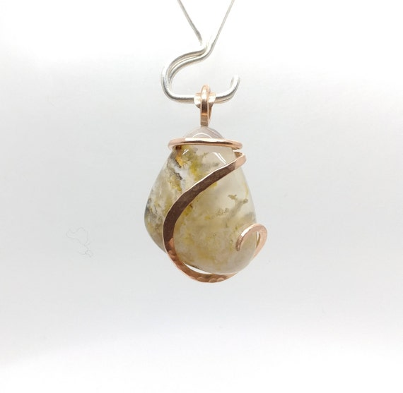Plume Agate Necklace | Graveyard Point Plume Agate Pendant | 14kt Rose Gold Filled | Rare Stone Pendant | Included Agate Pendant | Boho Luxe