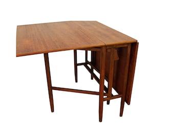 Mid-Century Danish Modern Teak Gateleg Drop-Leaf Dining Table