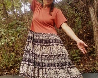 TRIBAL T-SHIRT DRESS ~ Upcycled Dress Recycled Dress Upcycled t-Shirt Short Dress Drop Waist India Skirt  Boho Dress Hippie Dress