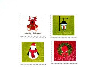 4 x Christmas Stamp wooden buttons Pack 1