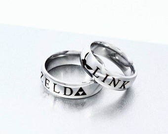 link and zelda couple ring personalized ring couples ring geekery video game - Zelda Wedding Ring