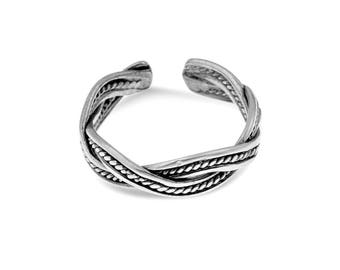 Braided Ring, Pinky Ring Women's, Midi Ring, Knuckle Ring, Adjustable Ring, Silver Pinky Ring, Casual Ring, Everyday Ring, Gifts For Her