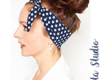 Star-Spangled Banner Headband Blue Headband with White Stars Pinup Bandana Accessories Tie up Headband American Flag Womens hair accessories