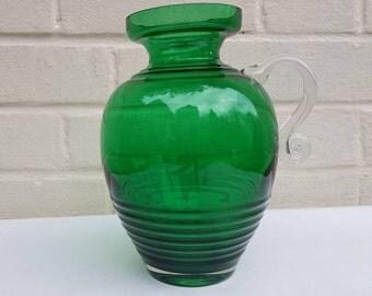 Riihimaen Lasi Riihimaki Kleopatra green glass jug vase Tamara Aladin mid century Scandinavian