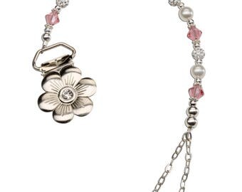 Sterling Silver Pearl and Pink Crystal Flower Binky Clip Comes in a Gift Box for Baby Shower (BC-Ariel)