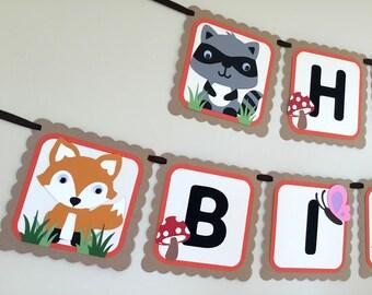 Woodland Animals Birthday Banner - Woodland Birthday Banner - Woodland Animals Banner  - Birthday Banner - Woodland Banner