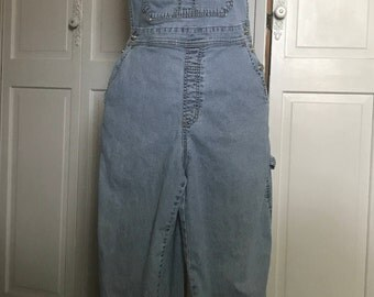 Ethyl Cropped Denim Overalls/ Small Medium Woman/Bling Trim/Grunge/Hipster/1990s/Embellished overalls/Capri Length