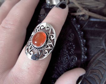Carnelian Ring, Silver Plated Ring, Carved Ring, Witchy Ways, Geometric Ring