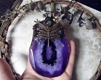 Purple Agate Necklace, Fairy Necklace, Large Necklace, Dragonfly Pendant, Copper Necklace