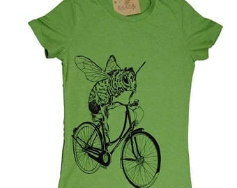 Graphic Tee Shirts for Women - Honey Bee Tshirt - Green Tee - Womens Funny Tshirt - Trendy Womens Clothes Bee on a Bike - Bee Tees