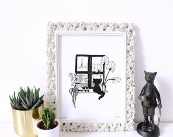 window view drawing. art print - cat at the window limited edition reproduction black an white view drawing