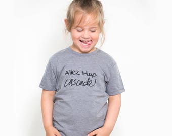 Kids T-Shirt Unisex screen printed, go hop, cotton kids quote organic polyester recycled, black, Grey Heather
