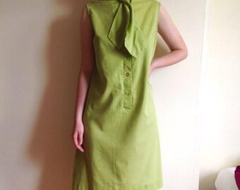 1960s Dress, Sleeveless Shift Dress, Bow, Green, women's size Large