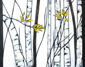 """Birches - Late Autumn Original Landscape Painting with Trees Acrylic on Canvas 10""""x10"""""""