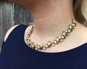 Aurora Borealis Art Deco Choker | Vintage 1960s Gold Tone AB Rhinestone Adjustable Necklace