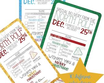 DIY Christmas Tags, Digital Christmas Tags, North Pole Tags, Santa Christmas Tags, Naughty or Nice, Printable, Holiday Gift Tags, Digital