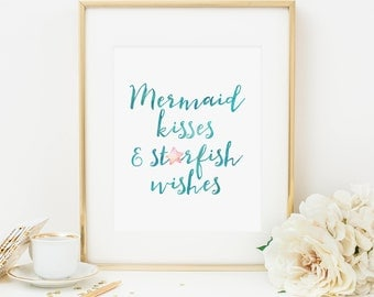 Mermaid Kisses Starfish Wishes Printable Mermaid Quote Prints Mermaid Nursery Decor Mermaid Wall Art Mermaid Wreath Aqua Pink Nursery 280