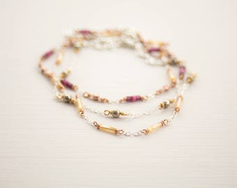 Colourful boho anklet set, 925 Sterling Silver, Raw Brass, mixed metal jewelry, Gold anklet, Luxe body jewellery, boho chic, daughter gift
