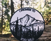 Mountain Patch, Iron On Nature Patch, Wilderness Patch, Embroidered Stay Wild Patch, River Patch, Explorer Patch, tree Patch, Camp Patch