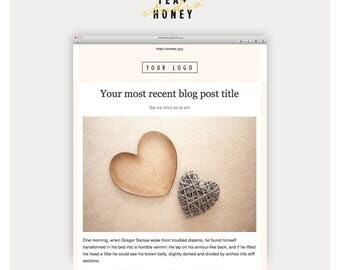 Latest Blog RSS Mailchimp Template, Modern Design HTML designed Email Newsletter Template, Instant Download Emailer Online Marketing
