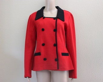 Vintage 80's Red and Black Wool Double Breasted Square Neckline Jacket Andrea Jovine Excellent Condition