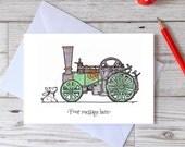 Birthday steam engine card, happy birthday traction engine card for dad, grandad, son, husband, boyfriend, card for him
