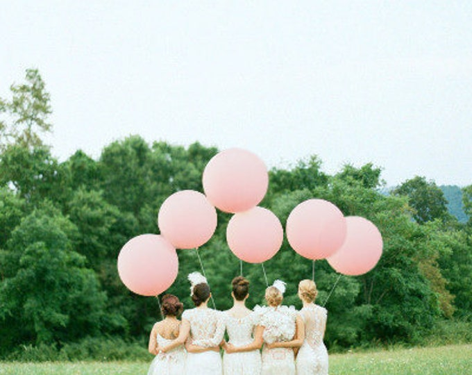 "6 Pack 36"" Pastel Pink Balloons, HUGE Latex Balloons, Light Pink Round Giant Balloons, Pastel Pink, Light Pink, Giant Balloons"