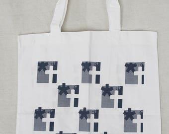 Shopping tote Cotton book bag Tote purse Print tote Market tote bag Handbag Canvas bag Print tote bag White blue tote Ecofriendly tote