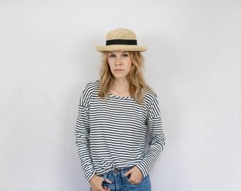 Women's Straw Hat - Beach Hat - Summer Hat - Sun Hat - Natural Color Straw Hat - Crochet Straw Hat  - Raffia Hat with Black Ribbon