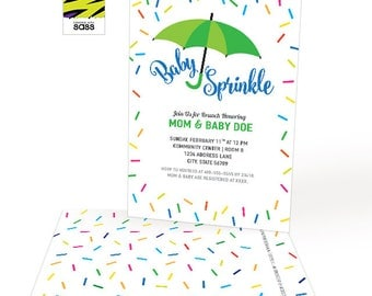 Printable, Baby Sprinkle, Baby Shower Invitation, Baby Boy, Baby Girl, Donuts, Sprinkles, Colorful