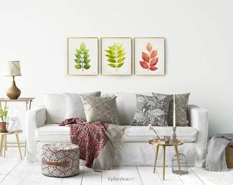 printable botanical set of 3 prints plants wall art set living room decor nature - Living Room Wall Decor Sets