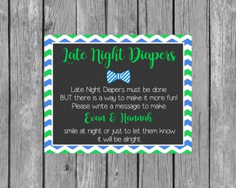 Boy Late Night Diapers Baby Shower Sign - Diaper Thoughts Message