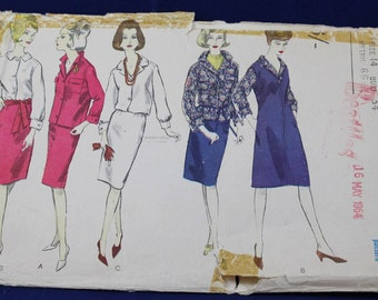 1960's Sewing Pattern for a Woman's Shirt, Skirt & Dress in Size 14 - Vogue 6037