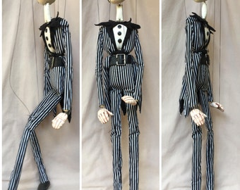 "Jack Skellington from Tim Burton's ""The Nightmare Before Christmas"" - Fully Costumed Marionette puppet Handmade by The Squeaking Tribe"