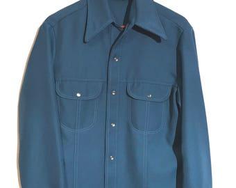 Vintage shirt coat in cornflower blue