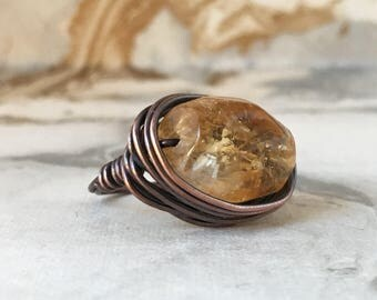 Oxidised Copper Wire Wrapped Ring with Citrine Gemstone | Statement Rings | Womens Rings | Stacking Rings | Size 6 Ring
