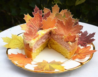 Edible Orange Maple Leaves Autumn Fall Rustic Wedding Cake Decorations Wafer Paper Birthday Boho Leaf Cupcake Topper Thanksgiving Cookie
