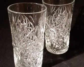Vintage Hobstar Libbey Glass Water, High Ball, Glasses