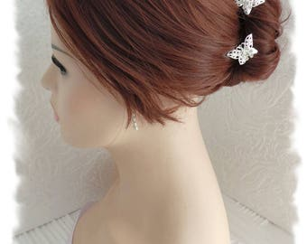 Bridal hair pins, butterfly filigree 2 pieces Crystal heart