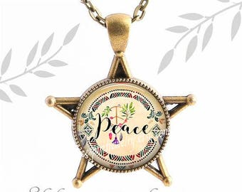 Peace Necklace, Boho Jewelry, Love Necklace, Star Bezel Necklace, Hippie Jewelry, Bronze Star Necklace, Gift for Teen Girl, Gift for women