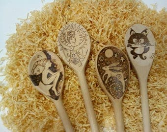 Engraved wooden spoons