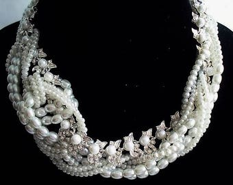 Bridal Necklace Wedding Jewelry Multi Strand Pearl Necklace Statement Jewelry Chunky Necklace Pearl Jewelry Silver Necklace Gift For Women