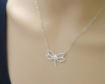Sterling silver dragonfly necklace; silver dragonfly; simple silver necklace