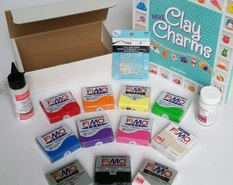 Beginner's Clay Kit. Extra Large Clay Lot Including Fimo Polymer Clay, Liquid Clay, Sculpey Glaze, Jump Rings, Eye Pins, and More!