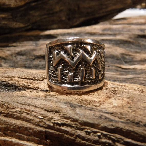 Vintage Navajo Sterling Silver Mens Ring Native American Warrior Ring Heavy 9.9 Grams Signed Size 5 Sterling Silver Ring Mens Rings Silver