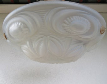 """French Art Deco ceiling lamp - Clear Frosted moulded pressed glass Plafonier Chandelier - 1920s 1930s France - Diameter 13.5 """" / 34.5 cm"""